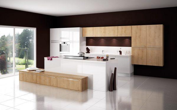 Cuisine Cristal - Blanc & Cottage chêne du Jura